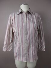 *DCC MISSY* SIZE XL WOMEN'S BUTTON DOWN STRETCH STRIPED 3/4 SLEEVE TOP
