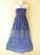 TL88 Blue Free Size Women Silk Halter Tube Smock Maxi Broomstick Dress XS to XL