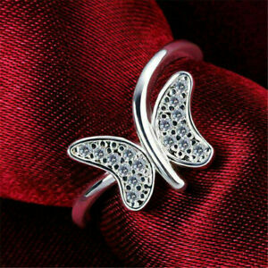 Stylist Butterfly Sweeping Engagement Wedding Ring 1.01Ct Diamond 14K White Gold
