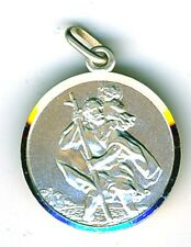 "925 Sterling Silver St. Christopher Small Pendant Diameter 16mm  (5/8"") Travel"