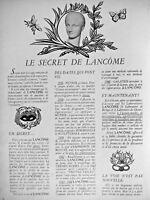 PUBLICITÉ DE PRESSE 1951 LA SECRET DE LANCÔME DES DATES QUI FONT FOI