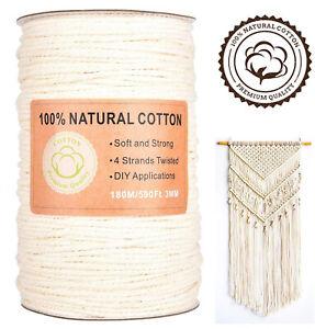 Makramee Garn Baumwolle Schnur - 3mm x 180m - Faden - 100% natürliche Baumwolle