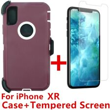 For iPhone XR Defender Case W/Tempered Screen (Clip Fits Otterbox) Plum White