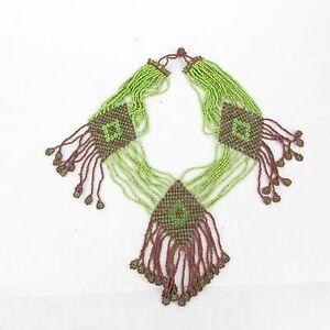 Vintage Boho Tribal Multi Strand Festival Seed Bead Collar Statement Necklace