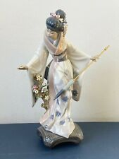 "Vtg Lladro ""Teruko"" Japanese Geisha Porcelain Figurine w/ Umbrella Parasol 1451"