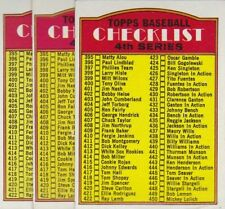 1972 TOPPS BASEBALL LOT (3) 4TH SERIES CHECKLIST #378 UNMARKED VGEX *L3271