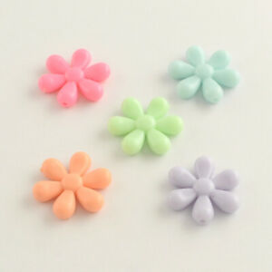 50 x Opaque Mixed Pastel Colors Flower Beads Super Fun Kids Crafts 24x5mm USA
