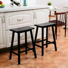 "24"" Height Bar Stools Kitchen Dining Room Saddle Seat Wooden Counter Stool 2 Pcs"
