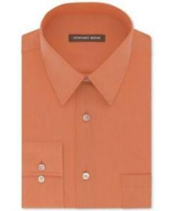 Geoffrey Beene Classic Fit Bedford Cord Apricot Shirt Mens 17 32/33 New