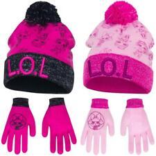 LOL Mütze + Handschuhe für Mädchen l.o.l Surprise mit Glitzer Herbst Winter Set
