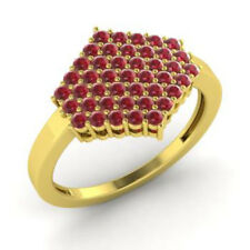 0.86 Ct Natural Gemstone Ruby Engagement Ring 14K Yellow Gold Size K L M N O