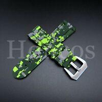 20mm Rubber Watch Band Strap Green Camo Handmade fits ALL BRANDS Rolex Tudor