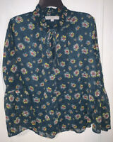 LOFT deep blue and green textured floral blouse Size Small long flare sleeves