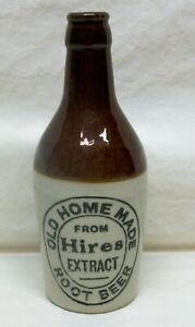 """Vintage """"Hires"""" Root Beer Extract Stoneware Bottle """"Old Home Made"""" 7-1/2"""" EXL"""