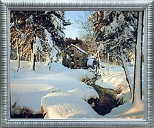 Wayside Inn Mill - Winter Landscape Nature Scenery Wall Art Decor Framed Picture