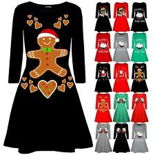 Ladies Womens Xmas Pudding Cup Cakes Boobs Funny Christmas Novelty Swing Dress