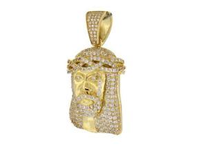 Men Jesus Head Pendant Simulated Diamond Gold over 925 Sterling Silver D16