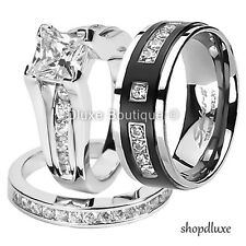 Silver & Titanium Wedding Ring Band Set His Hers 3 Piece Cz .925 Sterling
