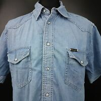 Wrangler Mens Vintage Denim Jean Shirt Western Pearl Snap MEDIUM Short Sleeve