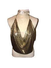 New listing Whiting & Davis Vintage 80's Gold mesh Halter Top