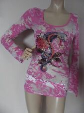 Small PINK SCOOP BURNOUT SHIRT Motorcycle Biker Rose Dragon top S long sheer