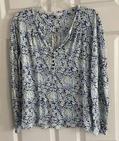 LUCKY BRAND Paisley Print Long Sleeved Knit Henley Top Shirt Women's Medium M