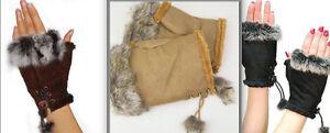Fingerless Mitts Hand Warmer Gloves Faux Suede Fur Trim & Tassels Ladies Girls