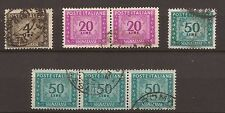 1947-54 SEGNATASSE RUOTA L. 4 + 50 + COPPIA  L. 20 + STRISCIA DI 3 L. 50 USATI
