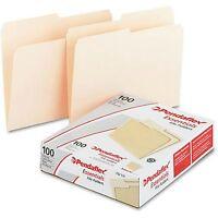 Pendaflex Essentials Manila File Folders 100 per Box Letter Size 1/3 Cut Tab