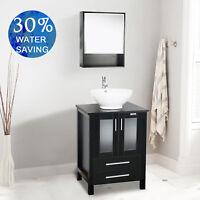 "24"" Bathroom Medicine Cabinet Vanity Set Round Ceramic Single Sink Faucet Combo"