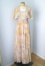Vtg 60s Hippie Boho Cotton Prairie Maxi Festival Dress Butterfly Slvs Lace XS