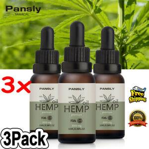 3Pack Hemp Seed Oil Drops 3000mg Organic Anti-Inflammatory Joint Pain Sleep UK