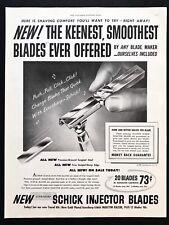 1950 Vintage Print Ad SCHICK Injector Blade Illustration Shave Art Grooming 50's