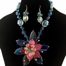 Premium Vintage Colorful Stone and Beads Gemstone Large Flower Necklace Earrings