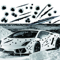 3D Bullet Holes Car Sticker Scratch Decal Motorcycle Stickers Waterproof Black