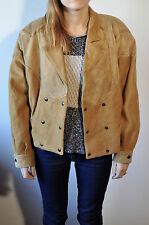 Vintage Suede Leather&Wool Hipster Biker Women Tan Jacket UK 14 Coat Bomber Coat