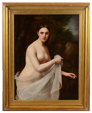"""Hermann Holz (1821-1883) """"Female nude in landscape"""", large oil painting, 1854"""