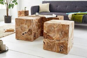 Massiver Teak Holz Beistelltisch Square 40 cm Couchtisch Sitzhocker Würfel natur