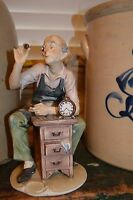 RARE VTG Sign Antonio Benni Capodimonte Clock Watchmaker Fine Porcelain Figurine