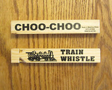 "30 NEW WOODEN TOY TRAIN WHISTLES 6"" WOOD LOCOMOTIVE RAILROAD CHOO CHOO WHISTLE"