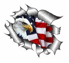 Gran diseño de aspecto de Metal RASGADO RASGADO con American Eagle & estadounidense Bandera Pegatina de Coche