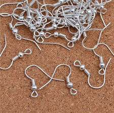 100Pcs Wholesale Silver Plated Earring Hook Coil Ear Wire Jewelry Findings 19mm