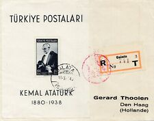 Turkey cover 1940 First Anniversary of death of Ataturk Souvenir Sheet on cover