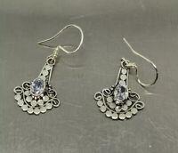 Bali 925 Sterling Silver White Sapphire Dot Dangle Earrings Handmade Indonesia