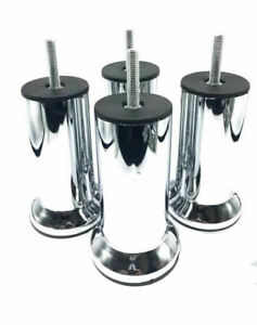 4x METAL CHROME LEGS FURNITURE FEET SOFA BEDS CHAIRS STOOLS CABINET 120mm HEIGHT