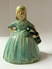 Painted Brass Lady milk maid Figurine Bell Very Nice and old   V48