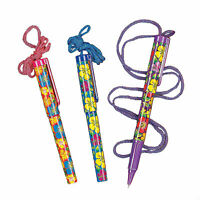 Bright Hibiscus Pen On A Rope - Stationery - 12 Pieces
