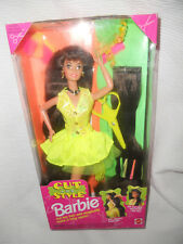 NEW RARE 1994 Cut and Style Brunette Barbie Doll with yellow dress