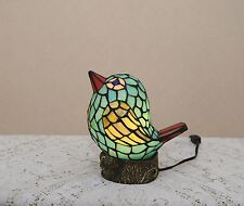 Stained Glass Handcrafted Lovely Bird Night Light Table Desk Lamp. Cute!