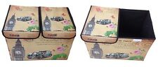 Aufbewahrungsbox with Lid Upholstered Paris Rome England London Box
